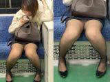 黒ストッキングがエロい!短すぎるスカートを穿いて無防備に座るエロいお姉さん(其の五)