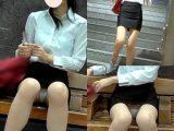 【電車対面パンチラ37】☆三角ゾーン観察記録/エロ美脚OLさんに接近!