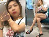 ショートパンツから伸びる長くて綺麗な生脚を見せつける長身お姉さん(其の三)