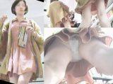 顔出し・極上超美人お姉さん×白バックレース縁取り&フロント刺繍薄生地P・直下モロ×ピンク水玉ミニワンピ
