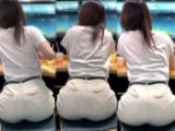 ピチピチピタパンヒップ181_極エロ!!パン線丸見え白パンツ尻突き出しお姉様♪