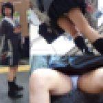 電車内で制服少女の周囲を気にしない大開脚パンチラ盗撮動画
