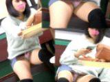 【盗撮バレ】可愛いミニスカニーソ娘のPモロ見え極上対面ぱんちら