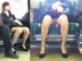 電車対面エロいスーツOLさんの開脚モロパンチラ盗撮動画
