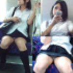 電車内にて制服女子の盗撮対面パンチラ動画