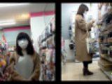 【スマホで逆さ撮り62】100均で買い物中の地味め女子 ロンスカタイツなのにばっちりパンツ盗撮される【素人盗撮】