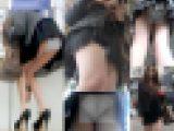 駅構内でモデル系美女が前屈みして生尻モロ出しパンチラ!めくり&パンチラ盗撮動画FHD