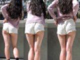 白のショーパン生脚ハミ尻しまくりのエロギャル休憩中を後ろから【動画】ピチエロHIP 006