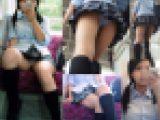 電車内まさかの大開脚でモロP隠し撮り〜からの階段での粘着逆さ撮りパンチラ動画