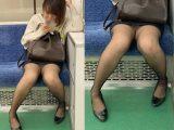 黒ストッキングがエロい!短すぎるスカートを穿いて無防備に座るエロいお姉さん(其の一)