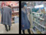 【スマホで逆さ撮り79】カメラばれあり、不思議ちゃん系女子のスカート内晒します!黒タイツは防寒ではなくただのエロ衣装【素人撮影】